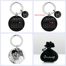 Round Custom Engraved Personalized Calendar Date Stainless Steel Tag Key Chain