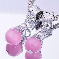 2pcs DIY dangle Floating Charms for Pink murano european beads Fit Bracelets