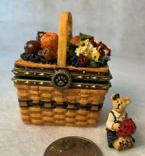 Boyds Bears Resin Longaberger Mini Market Day Basket Hinged Treasure Box