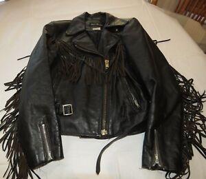 Steer Brand Leather Jacket Girls Vintage Fringed motorcycle biker jacket 13/14