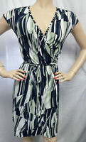 """""""BANANA REPUBLIC"""" GREEN ABSTRACT CAREER CASUAL CLASSIC WRAP DRESS SIZE: S"""