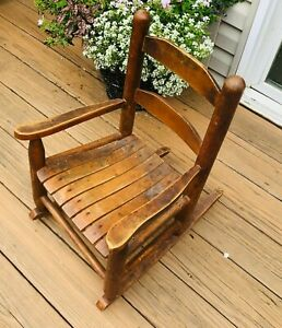 vtg wooden child rocking chair slatted seat primitive farmhouse