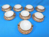 8 Antique Limoges GDA Cream Soup Bowls & Saucers Victorian Pink Gold Filigree