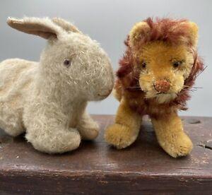 "2 Vintage Miniature stuffed Toy Steiff Leo The Lion 4""x7"", Bunny Rabbit 4""x6"""