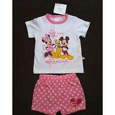 DISNEY ensemble blanc et rose t-shirt + short MINNIE bébé taille 9 mois NEUF