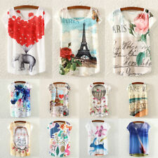 Summer Women Printed Loose Casual Batwing Short Sleeve T-shirt Tank Tops Blouse