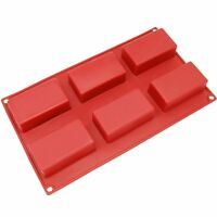 6 Cavity Rectangle Silicone Decorating Moulds Candy Cookie Chocolate Baking Mold