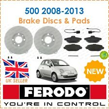 For Fiat 500 1.2 1.4 2008-2013 FERODO Two Front Brake Discs & Brake Pads Set New