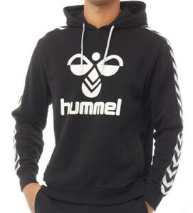 Hummel Mens Large Logo Hoodie Black/White Sizes new