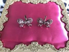 Betsey Johnson Iconic Ombre Rose Pink Crystal Paved Small Jeweled Bow Earrings