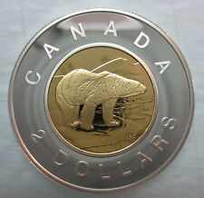 2001 CANADA TOONIE PROOF SILVER WITH 24K GOLD PLATED CORE TWO DOLLAR COIN