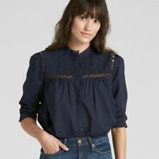 New! Gap navy blue women's pintuck mock neck blouse - XS - shirt lace top frill