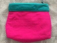 VTG Estee Lauder Hot Pink Teal Cuffed Plastic Lined Bag 1980s Zipper Pouch EUC