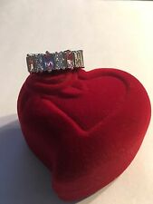 NEW STERLING SILVER PLATED 9-STONE PINK & CLEAR GEMSTONE RING  SIZE 7--R87
