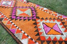 "Vintage Handmade Turkish Oushak Orange Runner Rug 13'7""x2'10"""