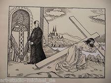 """Max Radler: Federzeichnung """"Christus mit dem Kreuz"""""""