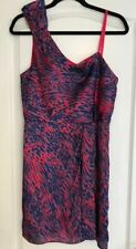 New BCBG GENERATION Women's Red Purple Blue BOW ONE SHOULDER PRINTED DRESS 10