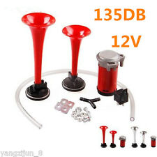 135db Loud Red 12V Dual Trumpet Air Horn Compressor Kits Train Car Truck Boat