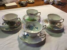 ROYAL DOVER Windsor Vale Colclough CHINA TEA CUP AND SAUCERS 4Sets