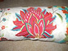 Artistic Accents beaded embroidered crochet needlepoint floral bolster pillow