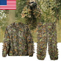 Mens Hunting Ghillie Suit 3D Camo Bionic Leaf Camouflage Jungle Woodland Outfits