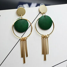 Fashion Women Round Drop Ear Jewelry Metal Chain Tassel Dangles Long Earrings