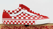 NIB VANS Men's Style 36 Checkerboard Red Canvas Lace-Up Low Top Sneakers Shoes