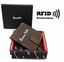 RFID SAFE Blocking Real Leather Designer Mens Wallet Contactless Card