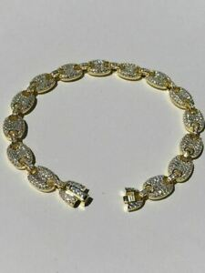 8mm Gucci Link Bracelet 14k Gold Over Solid 925 Sterling Silver Diamond ICY