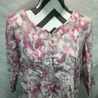 J Jill Tunic Blouse 100% Cotton Pink White Tie Dye Pleated 3/4 Sleeve Medium