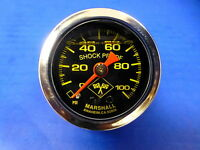 "Marshall Gauge 0-100 psi Fuel Pressure Oil Pressure 1.5"" Midnight Chrome Liquid"