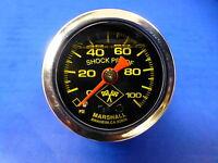 """Marshall Gauge 0-100 psi Fuel Pressure Oil Pressure 1.5"""" Midnight Chrome Liquid"""