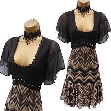 Karen Millen Black Brown Ruffle Frill Zig Zag Cocktail Summer Tea Dress UK 10