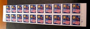 US Booklet Stamp Scott# BK156 Flag and Fireworks 1987 P# 2222 (see note)MNH C479