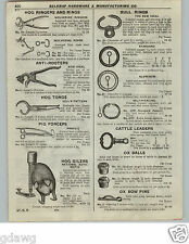 1922 PAPER AD Cast Iron National Automatic Hog Oiler 1.5 Gallon 50# Bull Rings