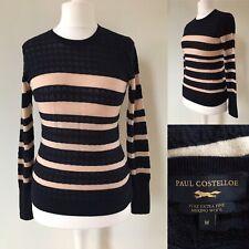 Paul Costelloe 12 Skinny Knit Stripe Jumper Merino Wool Cream Black Fitted