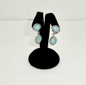 ESTATE LAGOS STERLING SILVER VENUS FACETED TURQUOISE DOUBLET DANGLE EARRINGS,1.5
