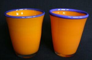 Mid Century Textured Orange Glass Tumblers Heavy Bottom Orange and Gold Stripes