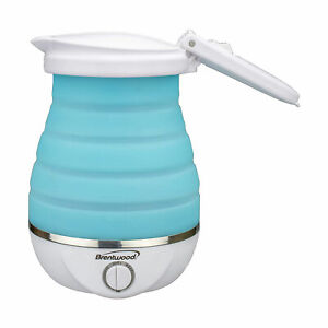 Brentwood KT-1508BL Dual Voltage 0.8L Collapsible Portable Tea Kettle, Blue