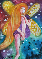 ACEO original miniature painting WaterColor Art - Fairy Dreams