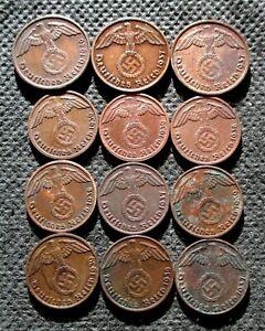 AUTHENTIC OLD COINS THIRD REICH GERMANY 1&2 REICHSPFENNG WORLD WAR II - MIX 797