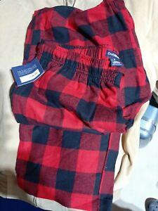 NWTCroft & Barrow  MED.  red/bla Plaid Elastic Mens Flannel Pajama Pants Bottoms