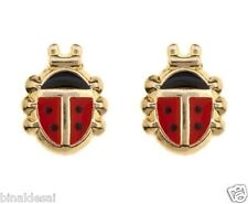 Kids Girls Ladies 9ct Gold Andralok Enamelled Ladybird Studs Earrings B'Day GIFT