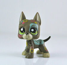 Littlest Pet Shop LPS Brown Flower Great Dane Dog Tattoo Green Eyes #1439 Xmas
