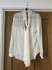 Michael Kors Sheer Blouse Tie Front Pussy Bow Cream Beige Shirt Small 10 New