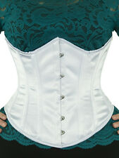 "345 Authentic White Satin 34"" Inch Underbust Corset Steel Boned."