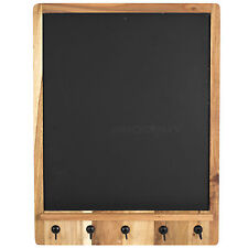 Acacia Wooden Black Board Chalk Memo Notice Key Storage Hook Rack Coat Hanger
