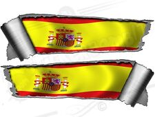 Pair Rolled back Ripped Metal Effect Spanish Flag Vinyl Car Stickers