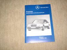 Mercedes 190er 124er SL E-/S-Klasse Preisliste price list von 01.10.1990, Nr. 58