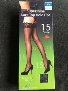 Pretty Legs 15 Denier Supershine Lace Top Holdups